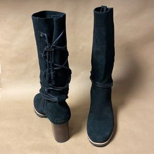 NWOT Sorel Farrah Black Suede Mid Calf Heeled Boot